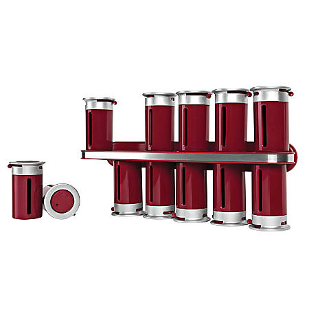 "Honey-Can-Do Zero Gravity™ Wall-Mount Magnetic Spice Rack, 12 Canisters, 7 1/2""H x 14 1/4""W x 3""D, Red/Silver"