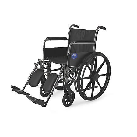 "Medline K1 Basic Wheelchair, Elevating, Permanent Arm, 18"" Seat, Gray"