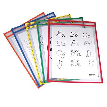 """C-Line® Reusable Dry-Erase Pockets, 9"""" x 12"""", Assorted Primary Colors, Pre-K - Grade 12, Pack Of 25"""