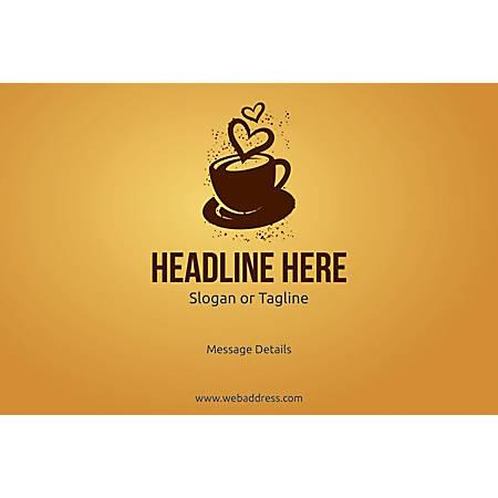 Adhesive Sign, Love for Coffee, Horizontal