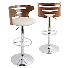 Lumisource Cosi Bar Stool WalnutCreamChrome