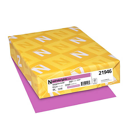 """Neenah Astrobrights® Bright Color Paper, Letter Size (8 1/2"""" x 11""""), 24 Lb, FSC® Certified, Outrageous Orchid, Ream Of 500 Sheets"""
