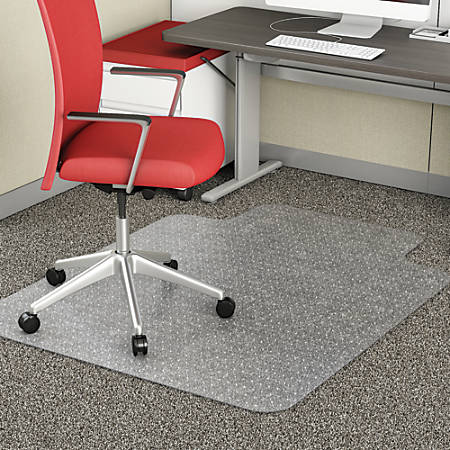 """Realspace® Chair Mat For Thin Commercial-Grade Carpets, Advantage, Standard Lip, 36""""W x 48""""D, Clear"""