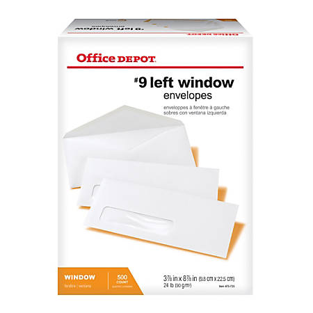 """Office Depot® Brand Window Envelopes, Window On Bottom Left, #9, 3 7/8"""" x 8 7/8"""", White, Box Of 500"""