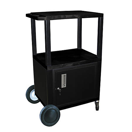 "H. Wilson Plastic Utility Cart With Locking Cabinet And Big Wheel Kit, 42""H x 24""W x 18""D, Black"
