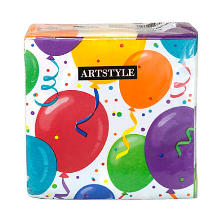 Artstyle Birthday 3-Ply Paper Napkins, Assorted Colors, Pack Of 120 Napkins