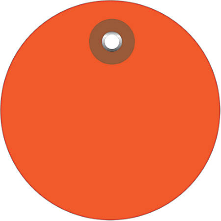 """Office Depot® Brand Plastic Circle Tags, 3"""", Orange, Pack Of 100"""