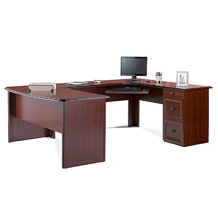 "Realspace® Broadstreet Contoured U-Shaped Desk With 92""L Connecting Bridge/Shell, Cherry"