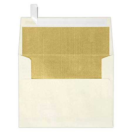 """LUX Invitation Envelopes With Peel & Press Closure, A2, 4 3/8"""" x 5 3/4"""", Gold/Natural, Pack Of 250"""