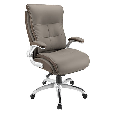 Realspace® Ampresso Big & Tall Bonded Leather High-Back Chair, Taupe/Silver