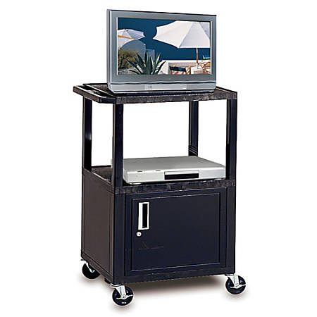 "H. Wilson Plastic Utility Cart With Locking Cabinet, 42""H x 24""W x 18"", Black"