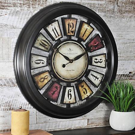"FirsTime® Numeral Plaques Wall Clock, 22 1/2"" x 1 1/2"", Metallic Black"