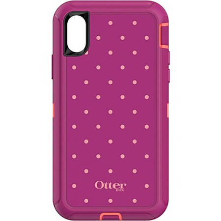 OtterBox Defender Carrying Case (Holster) iPhone X - Coral Dot