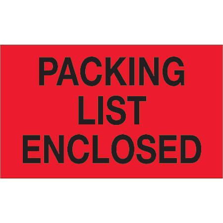 "Tape Logic® Preprinted Shipping Labels, DL1203, Packing List Enclosed, Rectangle, 3"" x 5"", Fluorescent Red, Roll Of 500"