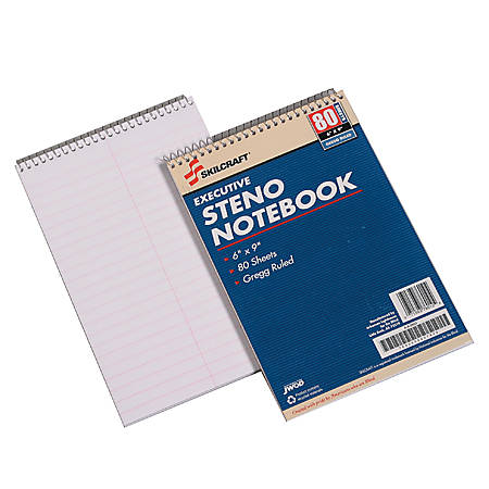 "50% Recycled Steno Notebooks, 6"" x 9"", Gregg Ruled, 80 Pages (40 Sheets), White/Blue, Pack Of 12 (AbilityOne 7530-00-223-7939)"