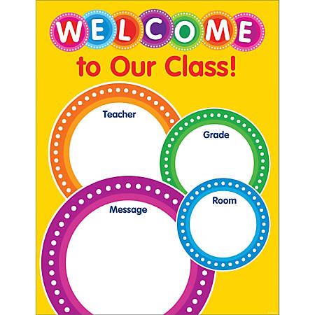 """Color Your Classroom Chart, Welcome, 17"""" x 22"""", Yellow/Multicolor, Grades Pre-K - 6"""