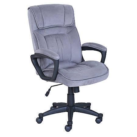 Serta Microfiber High-Back Chair, Velvet Gray/Black