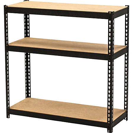 "Lorell Narrow Steel Shelving - 30"" Height x 30"" Width x 12"" Depth - Recycled - Black - Steel - 1Each"