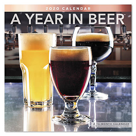 "Mead® A Year In Beer Monthly Wall Calendar, 12"" x 12"", January To December 2020, ODE33810"