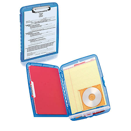 Office Depot® Brand Portable Clipboard Storage Box, Letter Size, Charcoal/Blue