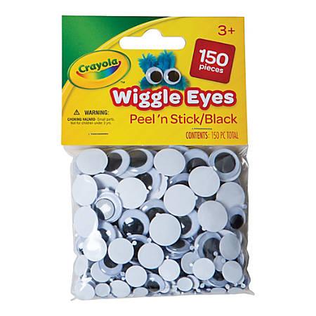 Crayola® Round Wiggle Eyes, 7 - 15 mm, Black, Pack Of 150 Eyes