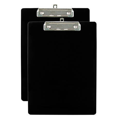 """Office Depot® Brand Plastic Clipboards, 8 1/2"""" x 11"""", Black, Pack Of 2"""