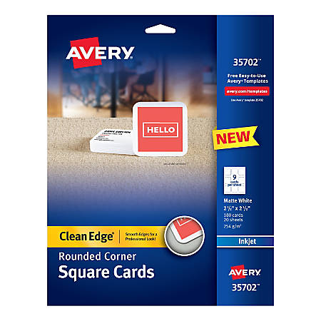 Avery® Inkjet Square Cards With Rounded Edges, Letter Size, Matte White, Pack Of 180