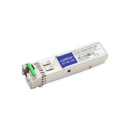 AddOn Juniper Networks EX-SFP-GE40KT13R14 Compatible TAA Compliant 1000Base-BX SFP Transceiver (SMF, 1310nmTx/1490nmRx, 40km, LC, DOM)