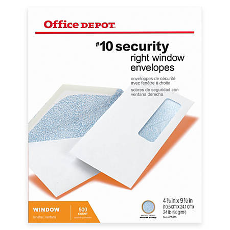 "Office Depot® Brand Right Window Security Health Insurance Claim Form Envelopes, #10, 4 1/8"" x 9 1/2"", White, Box Of 500"