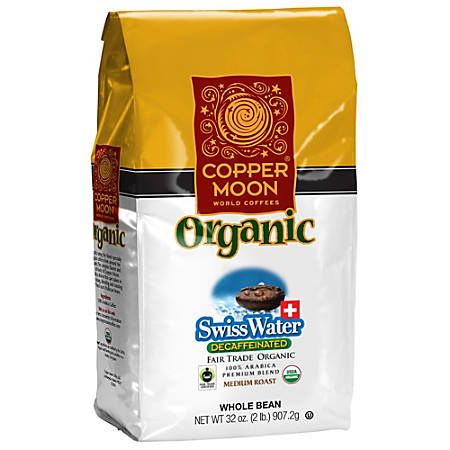 Copper Moon Coffee Whole Bean Coffee, Swiss Water Decaf Organic, 2 Lb Per Bag, Case Of 4 Bags