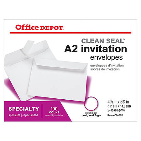 "Office Depot® Brand Invitation Envelopes, A2, Clean Seal, 4 3/8"" x 5 3/4"", White, Box Of 100"