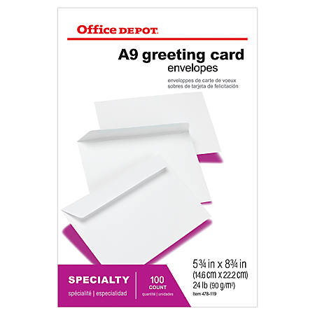 "Office Depot® Brand Greeting Card Envelopes, A9, 5 3/4"" x 8 3/4"", White, Box Of 100"