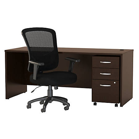 "Bush Business Furniture Components Elite 72""W Office Desk With Mobile File Cabinet And High-Back Executive Chair, Mocha Cherry, Premium Installation"