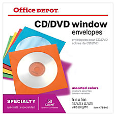 Office Depot Brand Color CDDVD Envelopes