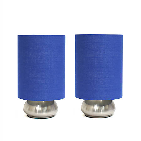 """Simple Designs Gemini Mini Touch Table Lamps, 9""""H, Blue Shade/Brushed-Nickel Base, Set Of 2"""