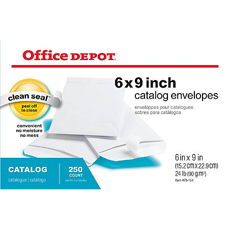 "Office Depot® Brand Clean Seal™ Catalog Envelopes, 6"" x 9"", White, Box Of 250"
