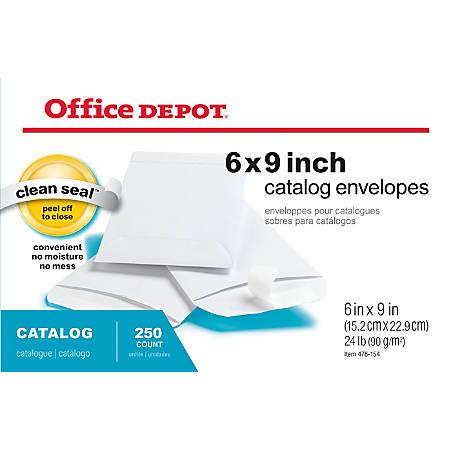 "Office Depot® Brand Clean Seal™ Catalog Envelopes, 6"" x 9"", White, Box Of 250"