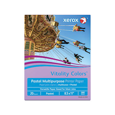 """Xerox® Vitality Colors™ Multi-Use Printer Paper, Letter Size (8 1/2"""" x 11""""), 20 Lb, 30% Recycled, Lilac, Ream Of 500 Sheets"""