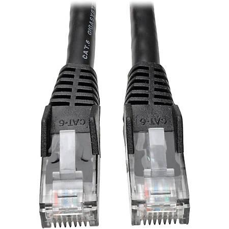 Tripp Lite 3ft Cat6 Gigabit Snagless Molded Patch Cable RJ45 M/M Black 3' - 3ft - 1 x RJ-45 Male - 1 x RJ-45 Male - Black