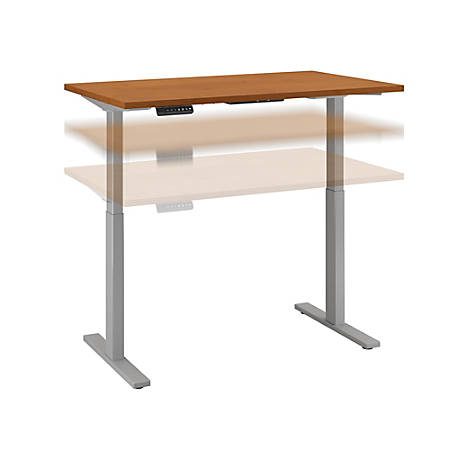 """Bush Business Furniture Move 60 Series 48""""W x 30""""D Height Adjustable Standing Desk, Natural Cherry/Cool Gray Metallic, Standard Delivery"""