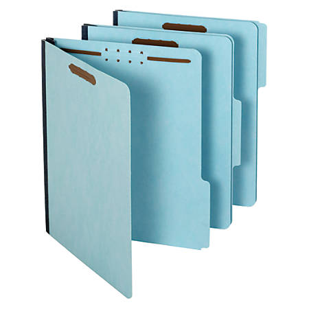 Pendaflex® Pressboard Folders With Fasteners, 1/3 Cut, Letter Size, 30% Recycled, Blue, Pack Of 25