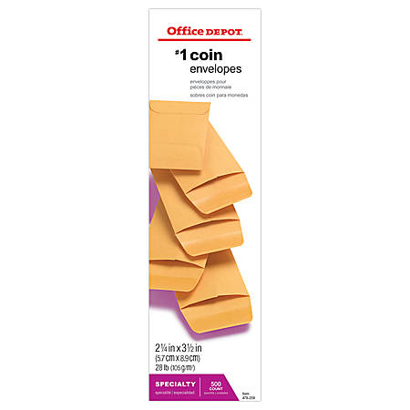 "Office Depot® Brand Coin Envelopes, #1, 2 1/4"" x 3 1/2"", Brown Kraft, Pack Of 500"