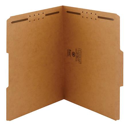 Smead® Kraft Reinforced Tab Fastener Folders, Letter Size, 1/3 Cut, Pack Of 50