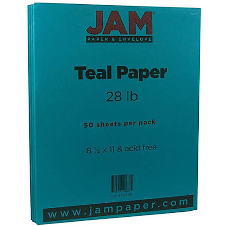 "JAM Paper® Printer Paper, Letter Size (8 1/2"" x 11""), 28 Lb, Teal Blue, Ream Of 50 Sheets"