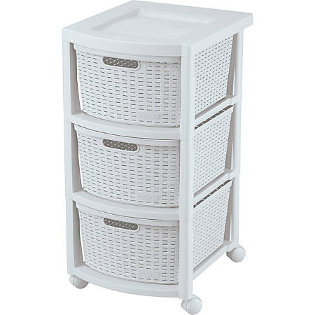 Rimax Rolling Storage Cart, 3-Drawer, White