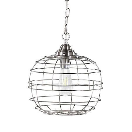 """Southern Enterprises Ramsey Metal LED Pendant Lamp, 9""""H, Brushed Nickel"""