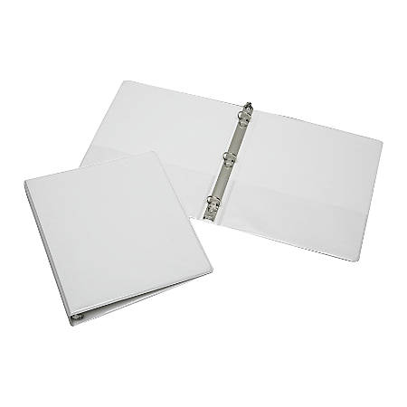 """SKILCRAFT® Clear Overlay Binder, 1"""" Rings, 30% Recycled, White (AbilityOne 7510-01-203-4708)"""