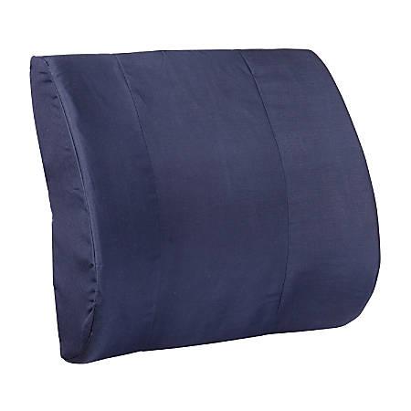 """DMI Memory Foam Lumbar Pillow Back Support Cushion, 3""""H x 14""""W x 13""""D, Navy Blue"""