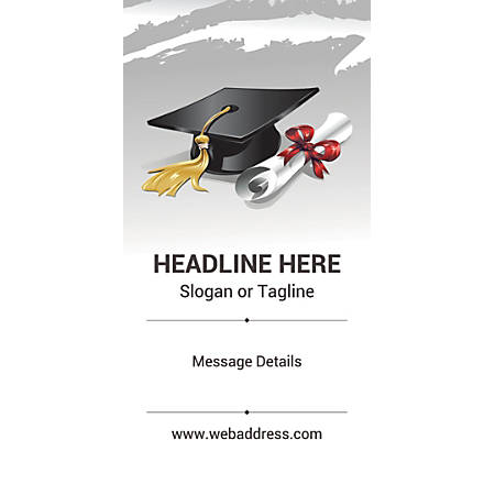 Custom Vertical Banner, Graduation Hat And Certificate