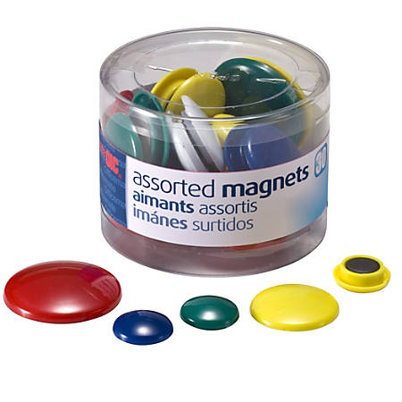 OIC® Assorted Color Magnets, Assorted Sizes, Pack Of 30